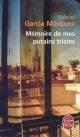 Couverture : Mémoire de mes putains tristes Gabriel Garcia Marquez