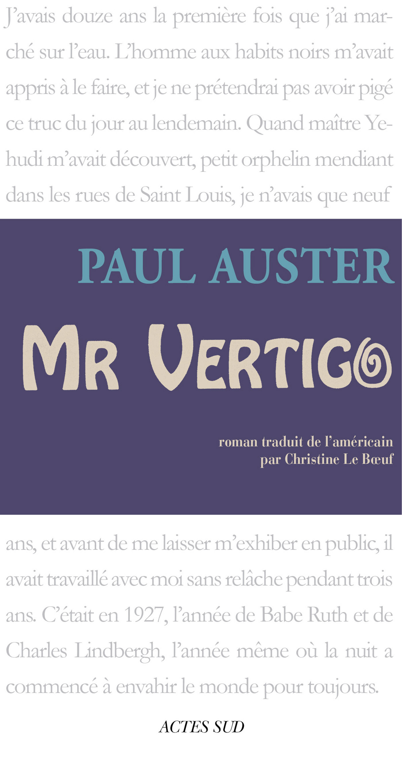 Couverture : Mr. Vertigo Paul Auster