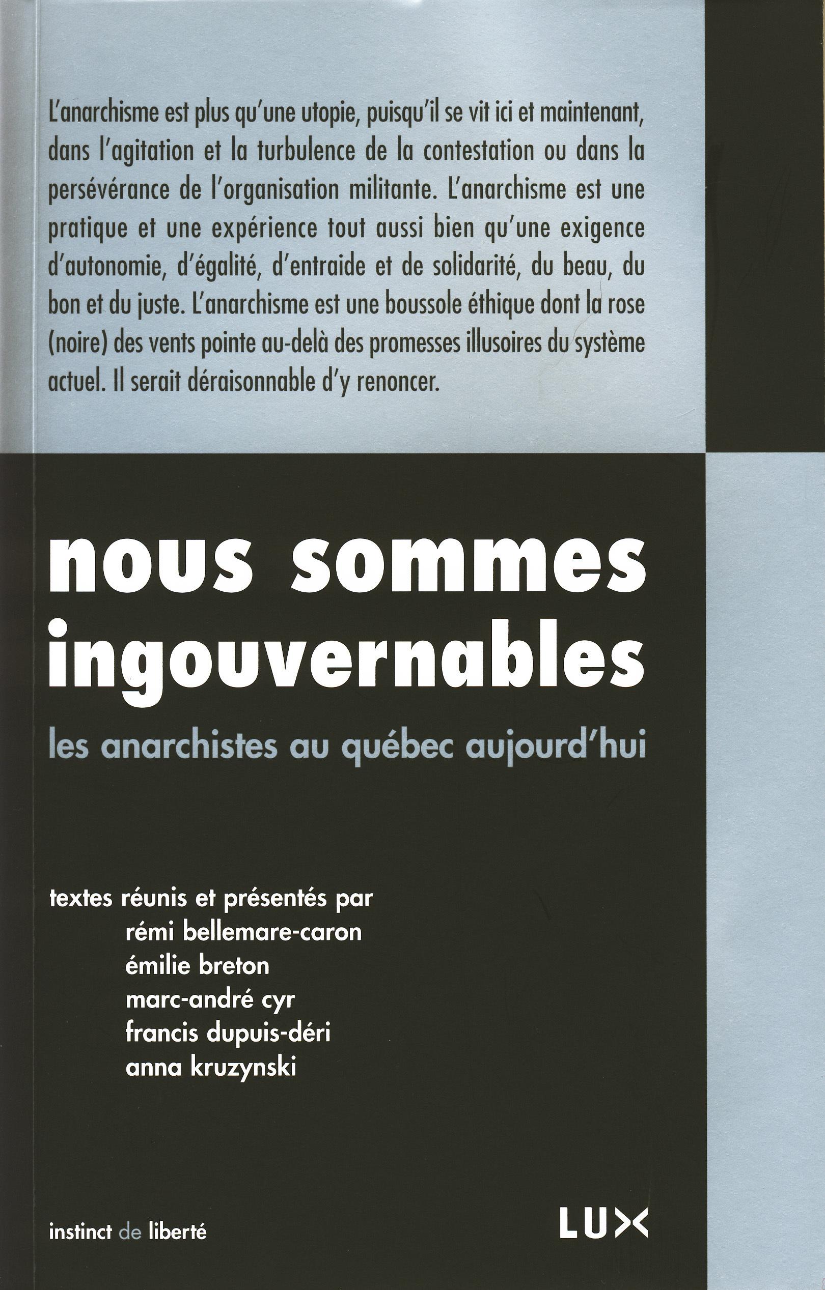Couverture : Nous sommes ingouvernables: Les anarchistes au Québec aujourd'hui