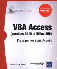 Vignette du livre VBA Access versions 2019 et Office 365 : programmer sous Access
