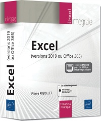 Vignette du livre Excel : versions 2019 ou Office 365 - Pierre Rigollet