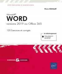 Vignette du livre Word: versions 2019 ou Office 365 : 120 exercices et corrigés