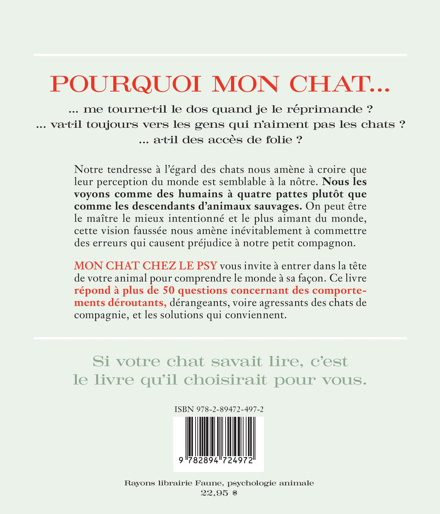 Mon chat chez le psy : 50 comportements intrigants... - Catherine Davidson revers