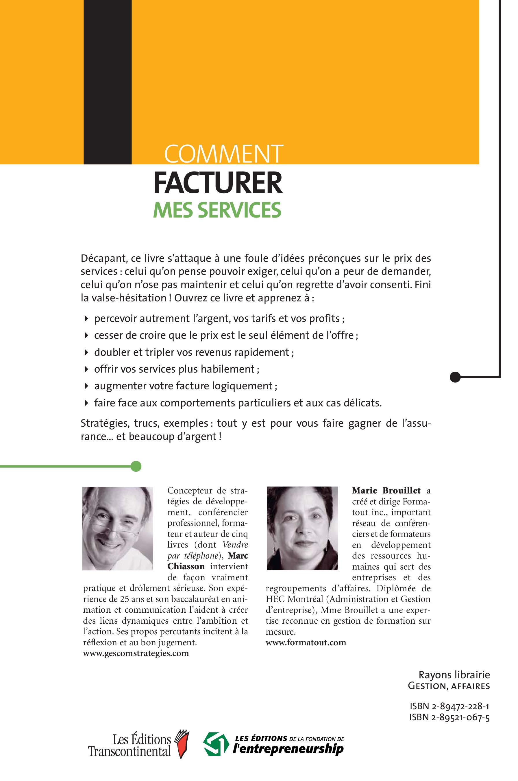 Comment facturer mes services, Marie Brouillet revers