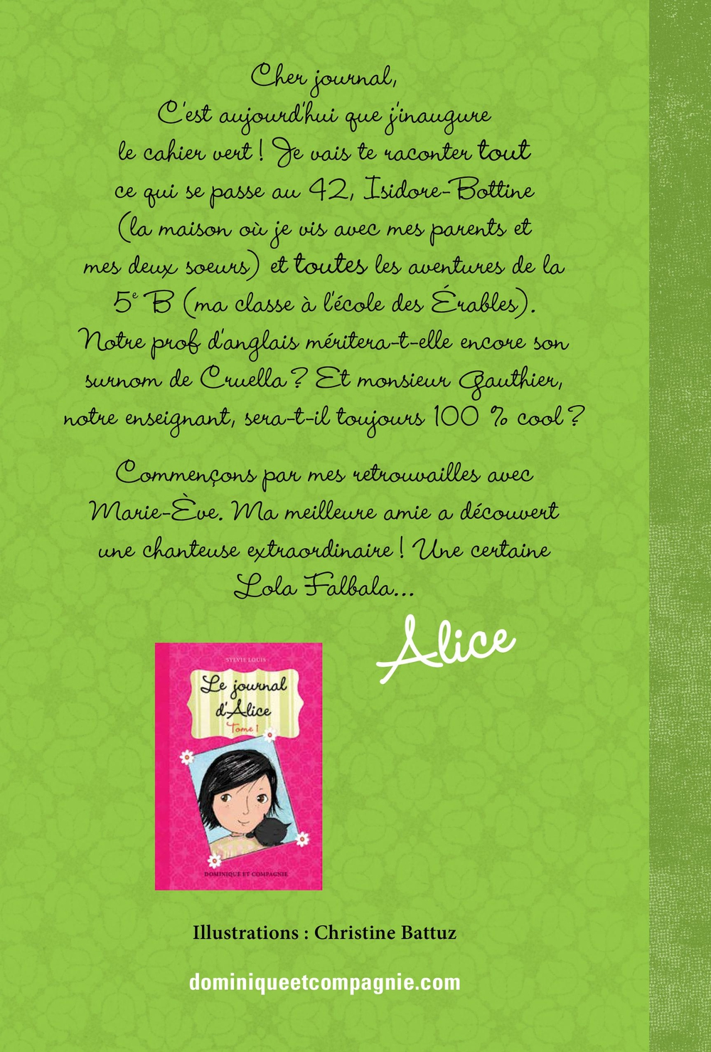 Le journal d'Alice T.2 : Lola Falballa - Sylvie Louis revers