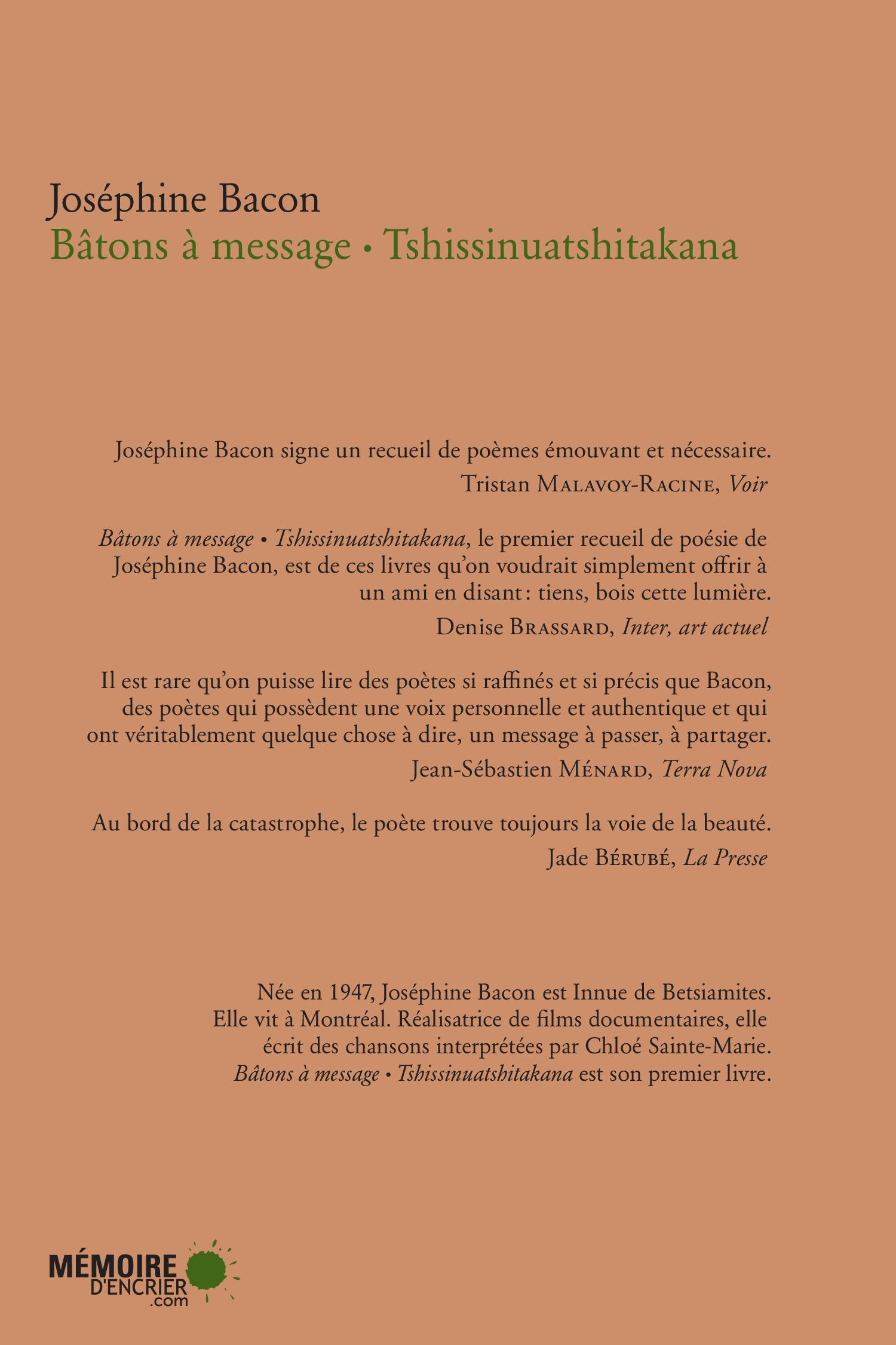 Bâtons à message Tshissinuatshitakana - Joséphine Bacon revers