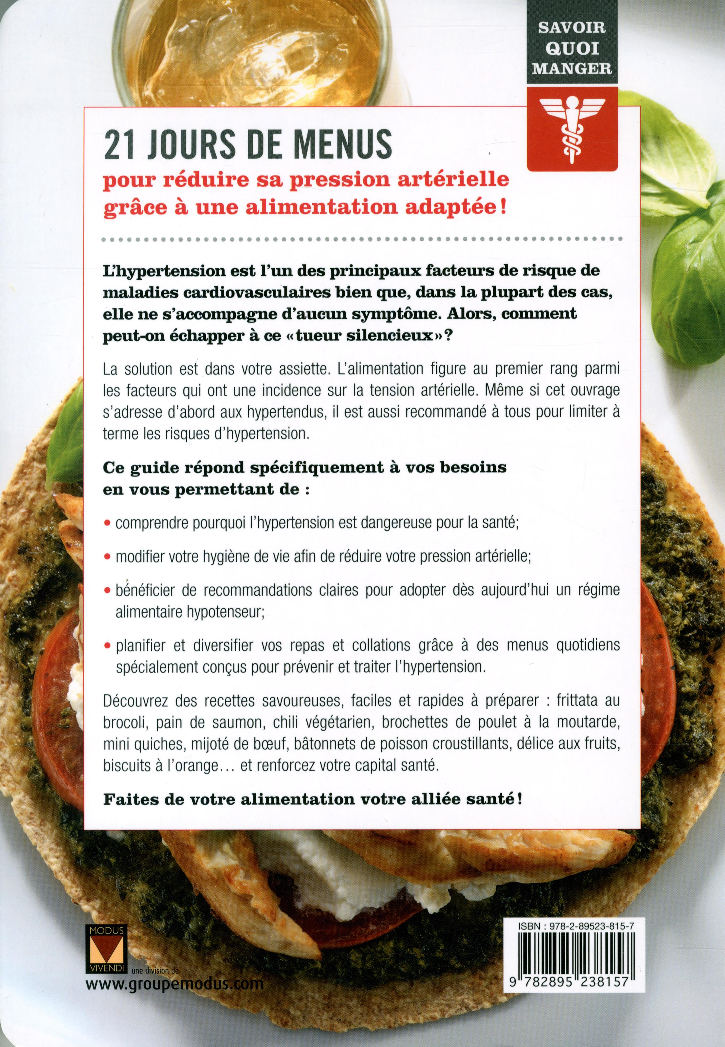 Hypertension: 21 jours de menus - Alexandra Leduc revers