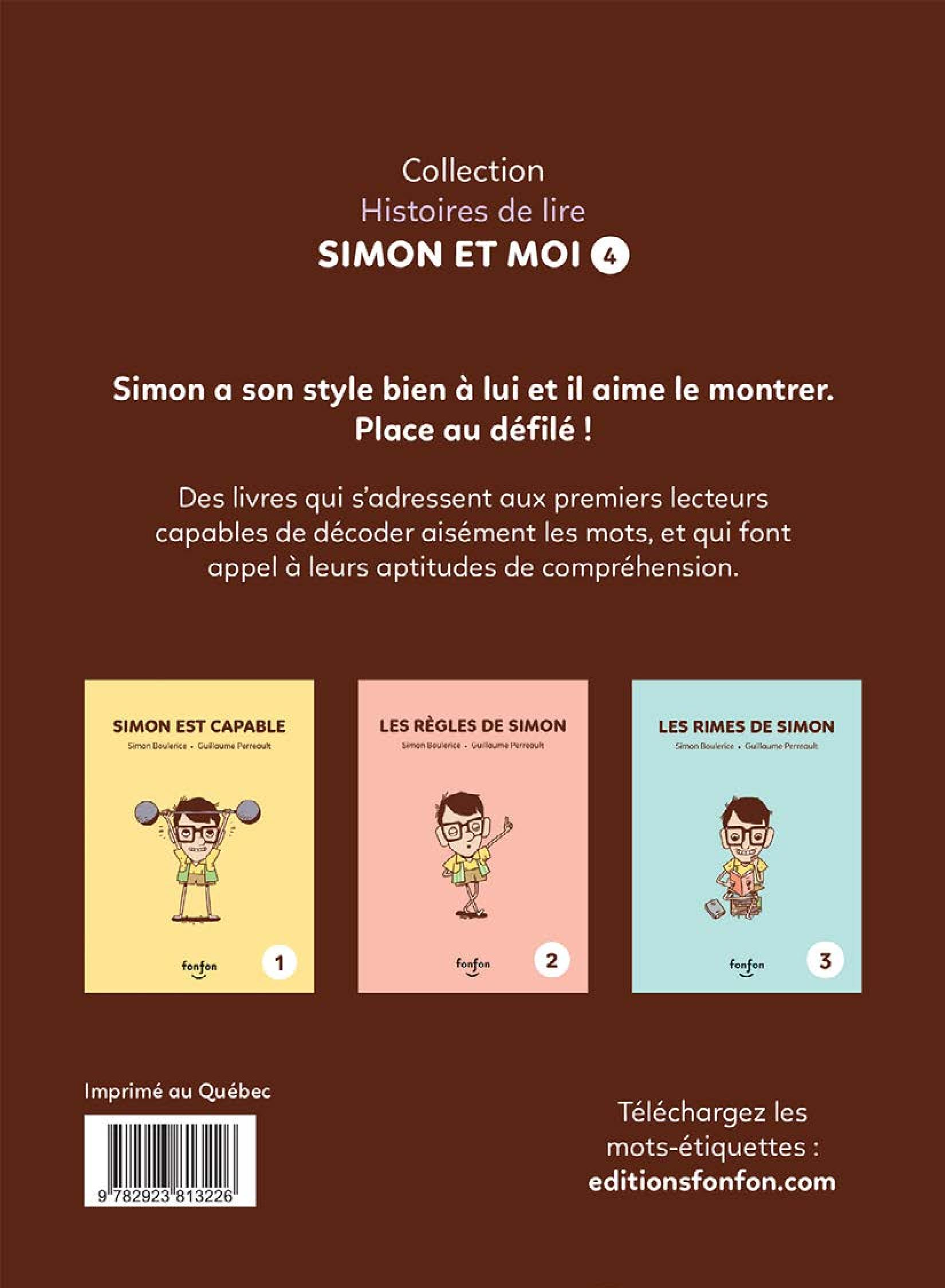 Simon et moi T.4 : Simon la carte de mode, Guillaume Perreault revers