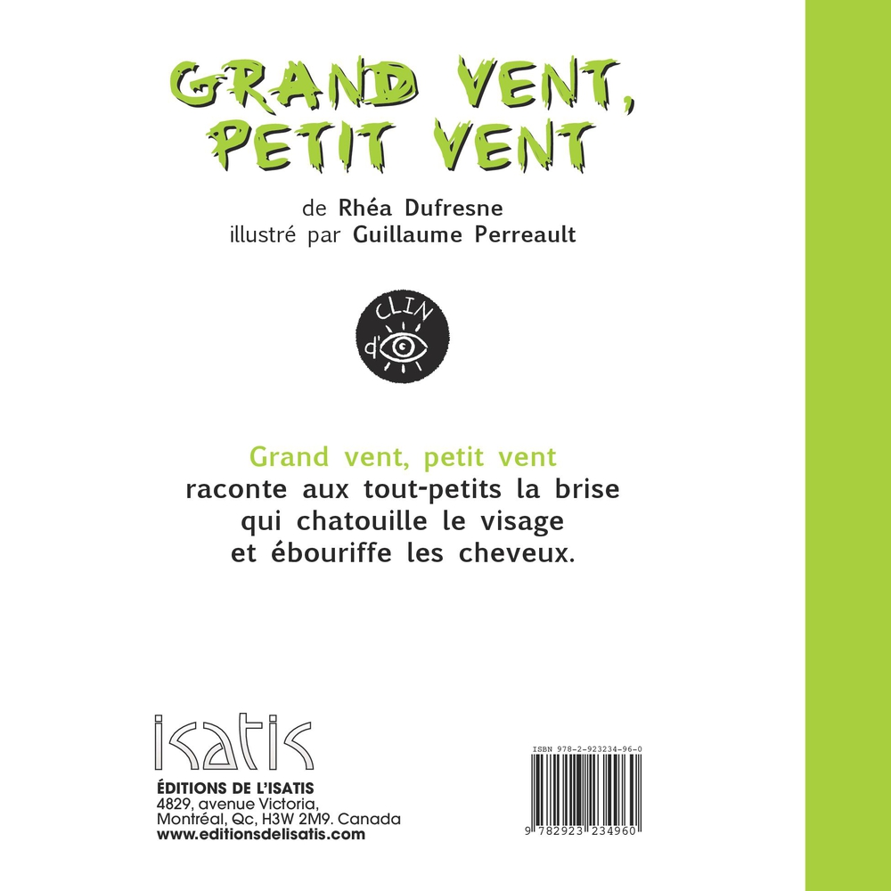 Grand vent, petit vent, Guillaume Perreault revers